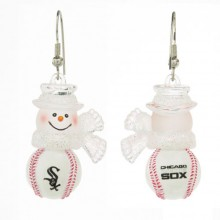 Chicago White Sox Snowman Baseball Earrings