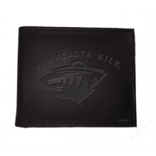 Minnesota Wild  Black Leather Bi-Fold Wallet