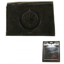 Winnipeg Jets Black Leather Tri Fold Wallet