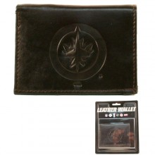 Winnipeg Jets Brown Leather Tri Fold Wallet