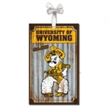 Wyoming Cowboys Corrugated Metal Ornament