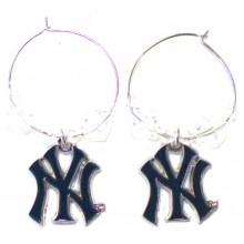 New York Yankees Beaded Hoop Dangle Earrings