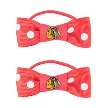 Chicago Blackhawks Bow Pigtail Holders