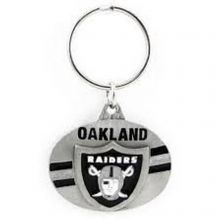 NFL Officially Licensed Oval Pewter Key Ring KeyChain (Oakland Raiders)