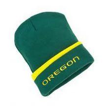 NCAA Licensed Oregon Ducks Green Cuffed Emboidered Logo Beanie