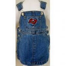 NFL Officially Licensed Tampa Bay Buccaneers Bib Overall Jean Skirt Dress (24 Months)
