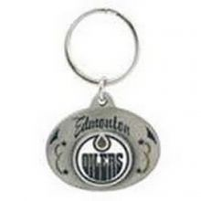 NHL Officially Licensed Oval Pewter Key Ring KeyChain (Edmonton Oilers)