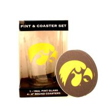 Iowa Hawkeyes Pint and Coaster Set