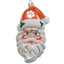 NCAA Licensed Clemson Tigers Hand Painted Glass Santa