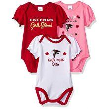 NFL Atlanta Falcons Baby-Girl 3 Pack Bodysuit, Team Color, 3-6 Months