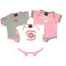 Augusta Sportswear NCAA Licensed Washington Huskies 3Pc. Bodysuit Creeper Crawler Set (6-9 Months)