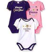 NFL Minnesota Vikings Baby-Girl 3 Pack Bodysuit, Team Color, 0-3 Months