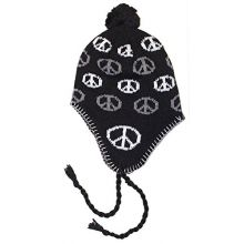 Mongolian Braided Peace Sign YOUTH Pom Beanie Hat Cap Lid (Black)