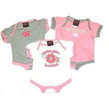 Augusta Sportswear NCAA Licensed Washington Huskies 3Pc. Bodysuit Creeper Crawler Set (0-3 Months)