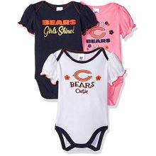 NFL Chicago Bears Baby-Girl 3 Pack Bodysuit, Team Color, 0-3 Months