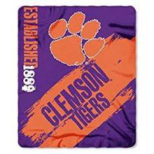 NCAA Officially Licensed Clemson Tigers Paint Stripe Fleece Throw Blanket