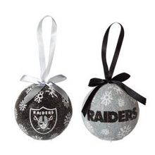 NFL Licensed LED Light-up Ornament Set of 2 (Oakland Raiders)