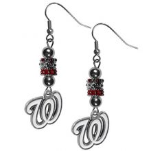 MLB Washington Nationals Earrings Fish Hook Post Euro Style, Team Colors, One Size