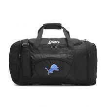 Concept One Accessories NFL Detroit Lions Roadblock Embroidered Duffel Bag, 20-Inch, Black