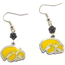 Bama NCAA Officially Licensed Iowa Hawkeyes Flower Style Dangle Earrings