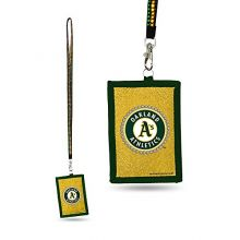 MLB Oakland Athletics Beaded Gem Lanyard with ID Wallet