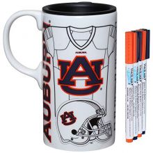 Auburn Tigers Personalizable Ceramic Travel Coffee Mug, 20 Ounces, with Team Color Markers