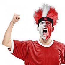 Bleacher Creatures NCAA Nebraska Cornhuskers Fuzzy Head Wig, 10.5-Inch x 6-Inch, Red