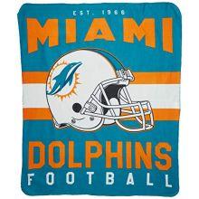 "NFL Miami Dolphins Singular Printed Fleece Throw, Teal, 50"" x 60"""