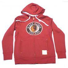 NHL Licensed Chicago Blackhawks Youth Full Zip Hooded Jacket Coat (Medium)