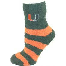 Miami Hurricanes Striped Fuzzy Lounge Socks