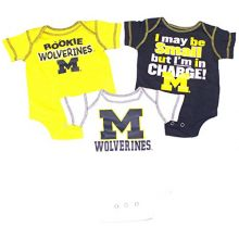 Bama NCAA Licensed Michigan Wolverines 3Pc. Bodysuit Creeper Crawler Set (6-9 Months)