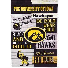 Evergreen Iowa Hawkeyes Vertical Linen Fan Rules Garden Flag