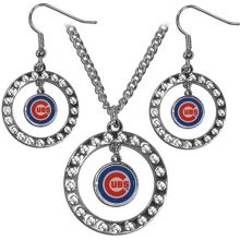 Siskiyou MLB Officially Licensed Chicago Cubs Rhinestone Necklace and Dangle Earring Set