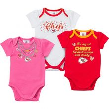 NFL Kansas City Chiefs Bodysuit (3 Pack), 18 Months, Red/White/Pink