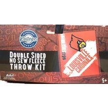 NCAA Louisville Cardinals Double Sided No Sew Fleece Blanket Kit