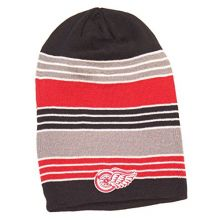 NHL Licensed Detroit Red Wings Face Off Collection Long Knit Beanie Hat Cap Lid
