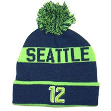 Donegal Bay Seattle 12th Man Cuffed Pom Beanie Hat Cap Lid Skull