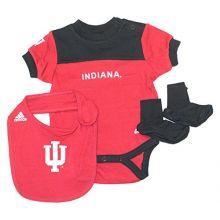 NCAA Licensed Indiana Hoosiers Logo 3Pc. Bodysuit, Bib and Bootie Creeper Crawler (6-9 Months)