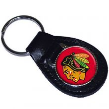 NHL Officially Licensed Leather Key Fob Keychain (Chicago Blackhawks)