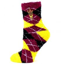 Donegal Bay NCAA Arizona State Sun Devils Argyle Fuzzy Socks, One Size, Maroon