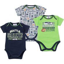 NFL Seattle Seahawks Bodysuit (3 Pack), 0-3 Months, Navy/Gray/Green