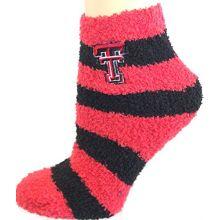 Zoozatz NCAA Texas Tech Red Raiders Striped Fuzzy Lounge Socks