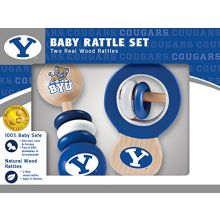 MasterPieces NCAA Brigham Young BYU Cougars, Natural Wood, Non-Toxic, BPA, Phthalates, & Formaldehyde Free, Baby Rattle, 2 Pack
