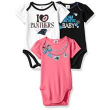 NFL Carolina Panthers Girls Short Sleeve Bodysuit (3 Pack), 6-12 Months, Pink