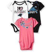 NFL Carolina Panthers Girls Short Sleeve Bodysuit (3 Pack), 0-3 Months, Pink