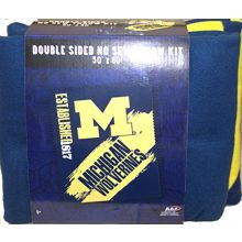 NCAA Michigan Wolverines Double Sided No Sew Fleece Blanket Kit
