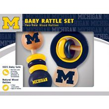 MasterPieces NCAA Michigan Wolverines, Natural Wood, Non-Toxic, BPA, Phthalates, & Formaldehyde Free, Baby Rattle, 2 Pack