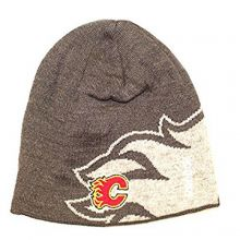 NHL Officially Licensed Calgary Flames Gray Flames Cuffless Beanie Hat Cap Lid