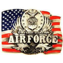 US AIR FORCE w/FLAG PEWTER BELT BUCKLE; MADE IN USA