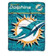 "NFL Miami Dolphins ""Livin Large"" Micro Raschel Throw Blanket, 46"" x 60"""
